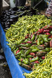 Green red peppers. Many green and red peppers in a bazaar Royalty Free Stock Photo