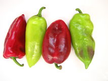 Green and red peppers Royalty Free Stock Images