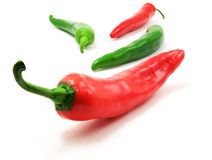 Green and red peppers. Isolated on white background stock photos
