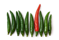 Green and red peppers isolated on white background. Spicy green and one red chillies isolated on white background Royalty Free Stock Photo