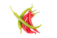Green and red peppers Stock Images