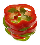 Green and red piece bell peppers Stock Photo