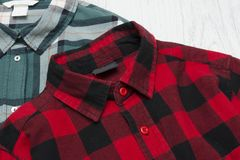 Green and red plaid shirts. Fashionable concept.  stock photo