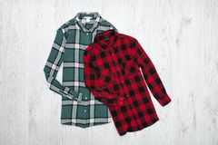 Green and red plaid shirts. Fashionable concept.  royalty free stock photography