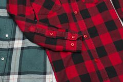 Green and red plaid shirts. Fashionable concept.  royalty free stock photo