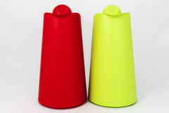 Green and red plastic water jug Royalty Free Stock Images