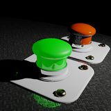Green and Red pushbuttons Stock Image