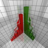 Green and red report 3d Stock Image