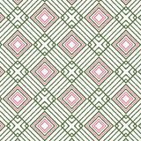 Green and red rhombuses and stripes with hand made quality for textile and fabric patterns. Vector colorful red and green geometric repeating pattern of Stock Illustration