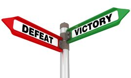 Defeat and victory. The way mark. Green and red road sign with black words VICTORY and DEFEAT. Isolated. 3D Illustration vector illustration