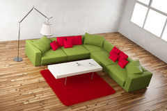 Green and red room angle view Stock Images