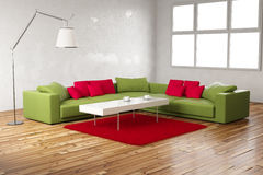 Green and red room normal view Royalty Free Stock Photo