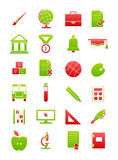 Green-red school icons set. Set of 24 green-red school icons Royalty Free Stock Photography