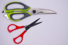 Green and Red scissors Stock Photos