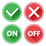 Green and red set of buttons. Yes and No check marks. On and Off. Vector royalty free illustration