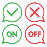 Green and red set of chat icons. Yes and No check marks. On and Off. Vector stock illustration
