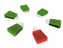 Green and red shopping bags Stock Images