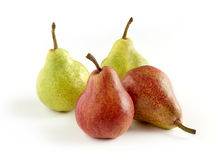 Green and Red Skinned Pears on White Background Stock Images