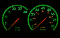 Green and Red Speedometer RPM stock photos