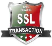 SSL 100% secure transaction shield. Green red SSL 100% secure transaction shield Stock Photo