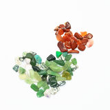 Green and red stones in heart shape isolated Royalty Free Stock Photos