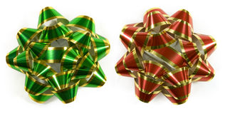 Green and red striped bows. Christmas gift bows isolated on white (top down shot Stock Photography