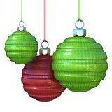 Green and red striped, hanging Christmas balls Royalty Free Stock Image