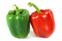 Green and red sweet pepper. On white background Royalty Free Stock Image