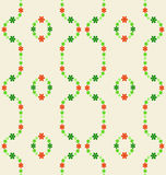 Green red tiny blossom pattern round composition vector Royalty Free Stock Photo