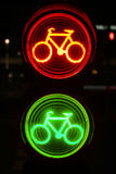 Green and red traffic light for bicyclists Royalty Free Stock Image