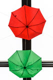 Green and red umbrellas Royalty Free Stock Photo