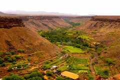 Green and red valley. The Ribeira grande valley in the island of Santiago in the archipelago of Cape Verde Stock Photo