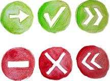 Green and red vector watercolor icons Stock Image