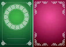 Green and red vector vintage backgrounds with white frames Stock Photo