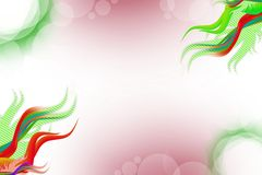 Green and red waves on corners, abstract background Royalty Free Stock Photography