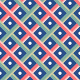 Green and Red Weave on blue dot Seamless pattern background Royalty Free Stock Photos