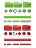Green and red web button set Stock Photo