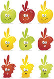 Green, red and yellow apples. Bitten green, red and yellow apples fruit sequence illustration. Vector Royalty Free Stock Photography