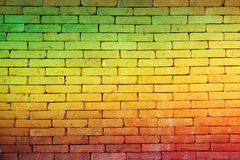 Green red yellow brick Wall background (Reggae style) royalty free stock images