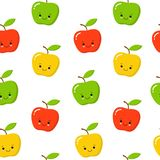 Green, Red, Yellow Cute Apple Seamless Endless Pattern. Red Apple Fruit. Cartoon Style stock illustration