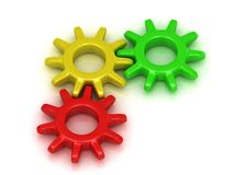 Green, red and yellow gears Royalty Free Stock Image
