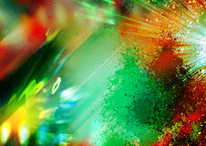 Green and red, yellow lights and rays on the black background, textured lighting background, Abstract texture and pattern Royalty Free Stock Photography