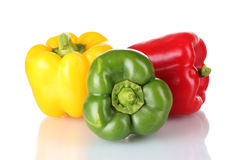 Green, red and yellow paprika Royalty Free Stock Image