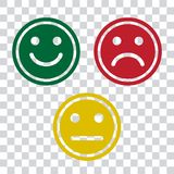 Green, red and yellow smileys emoticons icon on transparent background. Positive, negative and neutral, different mood. Vector vector illustration