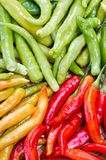 Green red and yellow thai goat pepper Stock Photos