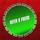Green REFER A FRIEND badge on red pattern background. Illustration Royalty Free Stock Photos