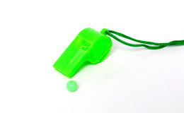 Green referee whistle, sport theme Royalty Free Stock Photo
