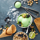 Green refreshing lime pistachio  ice cream Stock Photos