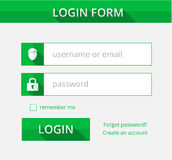 Green register form suitable for flat design, illustration Stock Image