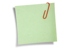 Green remainder note isolated Royalty Free Stock Photography